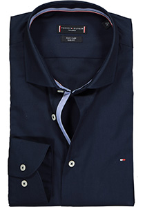 Tommy Hilfiger Poplin Classic Slim Fit overhemd, donkerblauw (contrast)