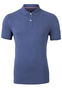 Tommy Hilfiger Slim polo, blauw Faded Indigo Heather