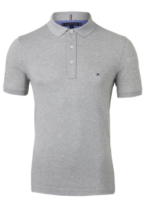 Tommy Hilfiger Slim polo, grijs Grey Heather