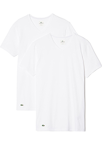 Lacoste 2-pack Cotton Stretch, slim fit T-shirts V-hals wit