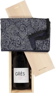 Heren cadeaubox Rode wijn met sjaal