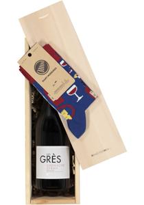 Heren en dames cadeaubox Rode wijn met Many Mornings Bonjour France Socks