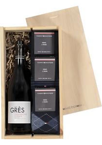 Heren cadeaubox: Rode wijn met 6 paar Tommy Hilfiger sokken