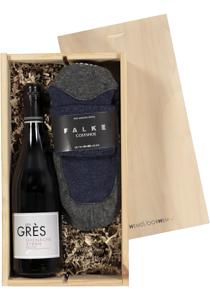 Heren en dames cadeaubox Rode wijn met Falke Cosy Shoes blauw