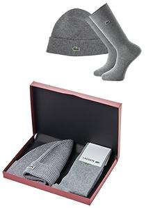 Set Lacoste muts en sokken, donker grijs in cadeaubox
