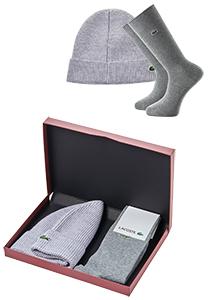 Set Lacoste muts en sokken, grijs in cadeaubox