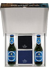 Heren cadeaubox: Carlo Lanza Italiaans pakket bier met sokken blauw en nachtblauw