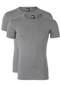 Alan Red stretch T-shirts Ottawa (2-Pack), O-hals, grijs gemêleerd
