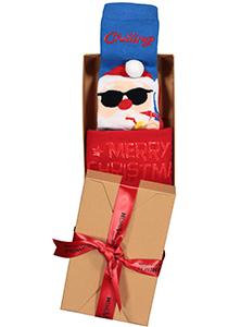 Homepads Kerst herensokken, Chilling Santa in cadeauverpakking