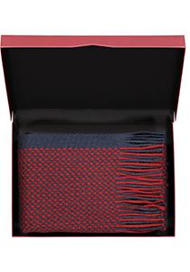Michaelis heren sjaal in cadeauverpakking, navy blauw - bordeaux rood dessin