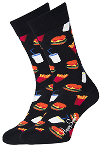 Happy Socks herensokken Hamburger Sock, zwart met fast food
