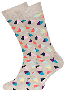 Happy Socks herensokken Pyramid Sock, beige met kleur