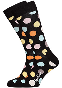 Happy Socks herensokken Big Dot Sock zwart met kleur