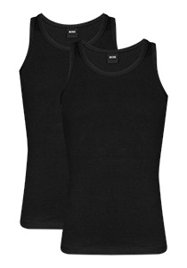 2-pack: Hugo Boss stretch singlets Slim Fit, O-hals, zwart