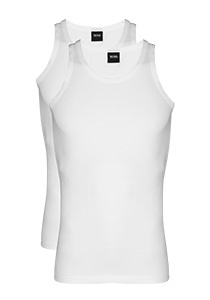2-pack: Hugo Boss stretch singlets Slim Fit, O-hals, wit