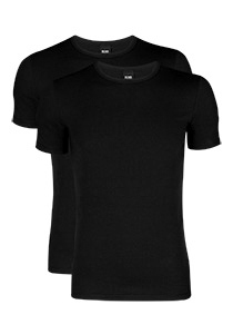 2-pack: Hugo Boss stretch T-shirts Slim Fit, O-hals, zwart