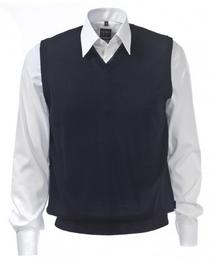 OLYMP heren spencer wol, V-hals, marine blauw