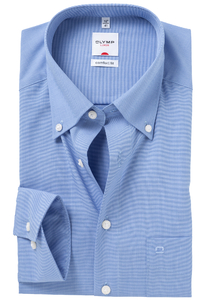 OLYMP Comfort Fit overhemd, blauw, Button Down (Fil á Fil)