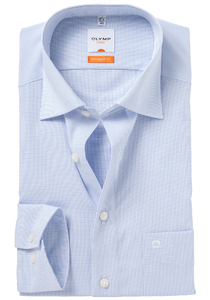 OLYMP Modern Fit overhemd, mouwlengte 7, blauw geruit