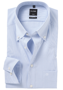 OLYMP Modern Fit overhemd, blauw geruit (Button Down)