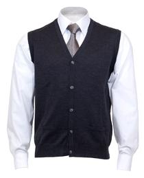 OLYMP mouwloos heren vest wol, V-hals, antraciet