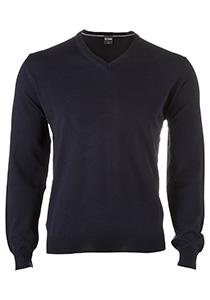 OLYMP heren trui wol, V-hals, marine blauw