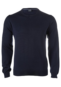 OLYMP heren trui wol, O-hals, marine blauw