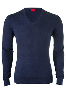 OLYMP Level 5, heren trui wol, blauw (Slim Fit)