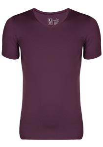RJ Bodywear Pure Color, T-shirt V-hals, aubergine (micro)