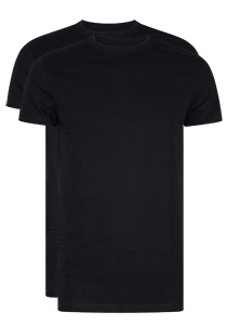 RJ Bodywear Everyday Amsterdam 2-pack T-shirt O-hals breed, zwart