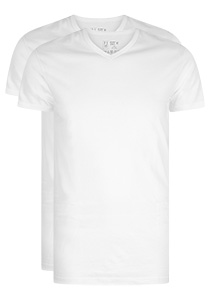 RJ Bodywear Everyday Den Haag extra lang T-shirt V-hals smal, wit 2-pack