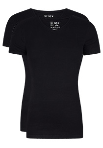 RJ Bodywear Everyday Leeuwarden 2-pack T-shirt V-hals, zwart rib