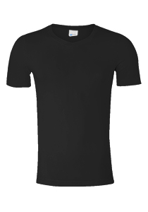 Schiesser Long Life Cotton T-shirt V-hals, zwart