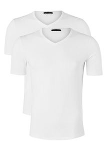 Schiesser Authentic T-shirt V-hals, 2-pack, wit