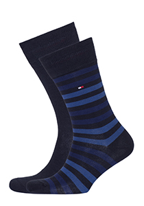 Tommy Hilfiger herensokken (2-pack), duo stripe sock blauw gestreept