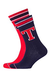 Tommy Hilfiger Patch Sock (2-pack), blauwe en rode sokken