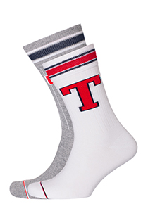 Tommy Hilfiger Patch Sock (2-pack), witte en grijze sokken