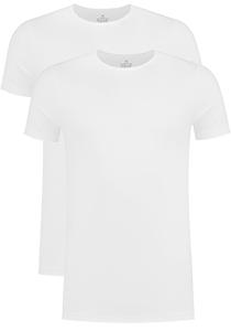 VENT strak model T-shirt O-hals (2-pack), wit