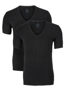 Calvin Klein Modern Cotton stretch T-shirts (2-pack), V-hals, zwart