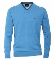Casa Moda heren trui katoen, V-hals, licht blauw