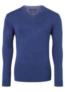 Casa Moda heren trui katoen, V-hals, donker blauw
