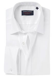 Casa Moda Comfort Fit smoking overhemd dubbele manchet, wit
