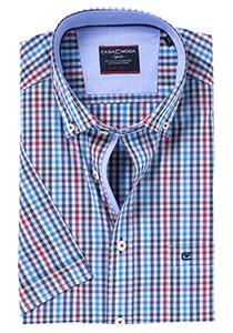 Casa Moda Comfort Fit, korte mouw, blauw-rood geruit (contrast)