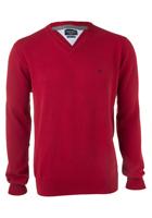 Casa Moda heren trui katoen, V-hals, rood