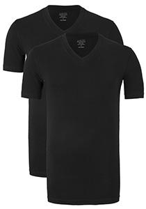 Claesen's T-shirts (2-pack), V-hals, zwart