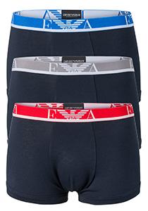 Armani Trunks (3-pack), blauw met gekleurde tailleband