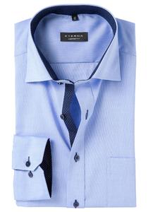 Eterna Comfort Fit, Mouwlengte 7, blauw fijn Oxford (contrast)