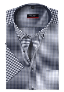 Eterna Modern Fit overhemd, korte mouw, blauw geruit