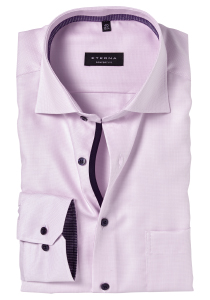ETERNA Comfort Fit overhemd, roze twill structuur (contrast)