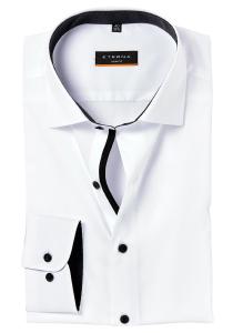 ETERNA Slim Fit Stretch overhemd, wit (zwart contrast)